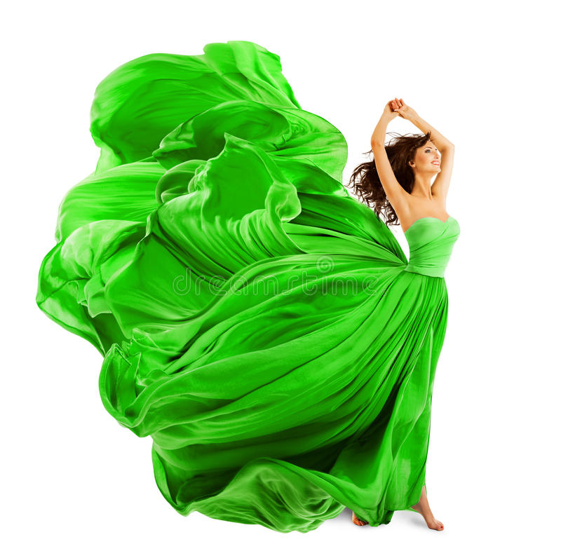 Woman Fashion Dress, Silk Fabric Cloth Fly Wave over White. Woman Fashion Dress, Silk Fabric Cloth Fly and Wave over White background stock images