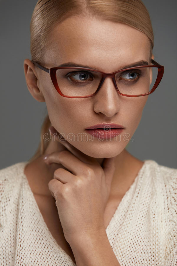 Woman In Fashion Glasses. Beautiful Female In Stylish Eyeglasses. Woman In Fashion Eye Glasses. Beautiful Young Female With Natural Face Makeup In Stylish stock photography