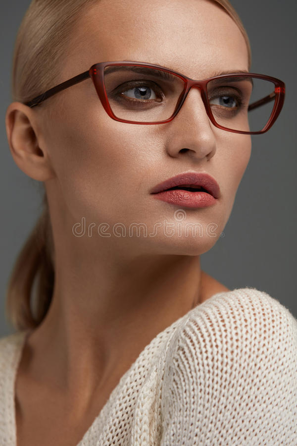 Woman In Fashion Glasses. Beautiful Female In Stylish Eyeglasses. Woman In Fashion Eye Glasses. Beautiful Young Female With Natural Face Makeup In Stylish stock image