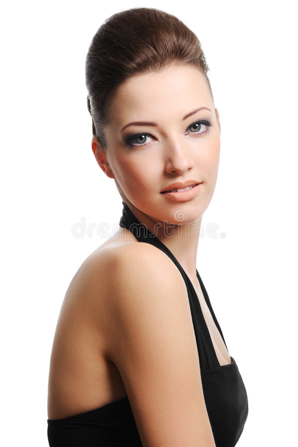 Woman with fashion hairstyle stock photos