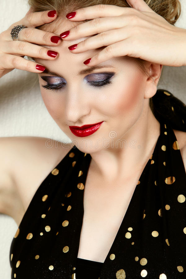 Download Woman with fashion make-up stock image. Image of gold - 16563249