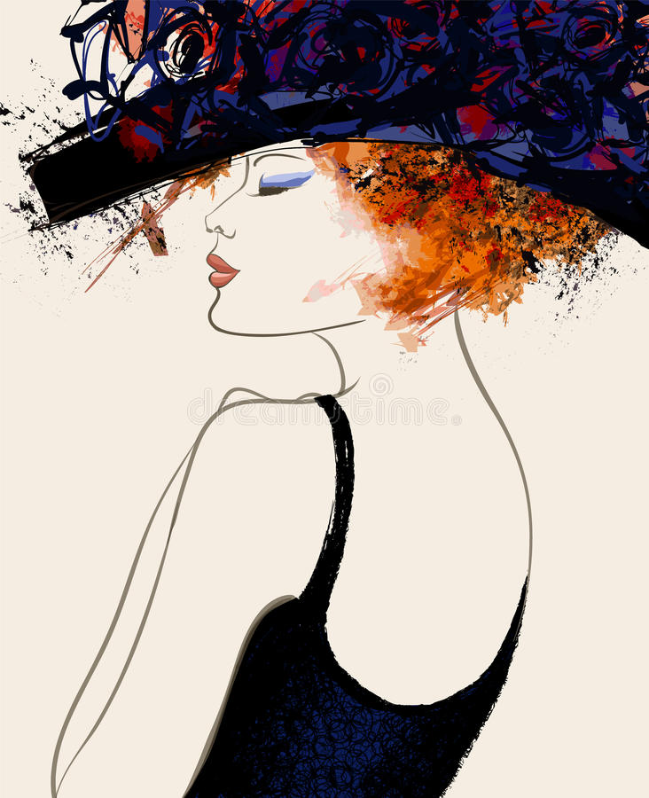 Woman fashion model with hat royalty free illustration