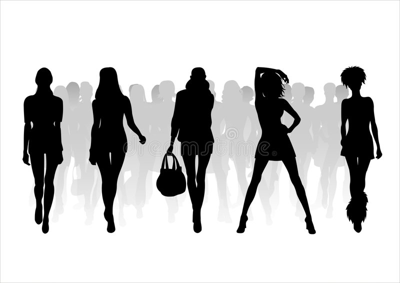 Woman of fashion silhouettes - 9. Black female fashionable silhouettes on white background. Digital illustration stock illustration