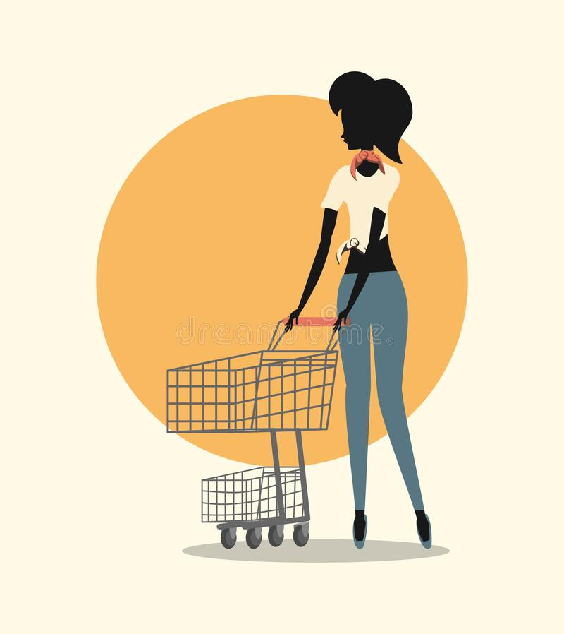 Woman shopping retro. Woman in fashion stylish shopping cart retro style vector illustration vector illustration