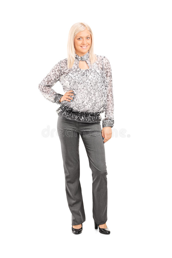 Woman in fashionable clothes. Full length portrait of a woman in fashionable clothes isolated on white background stock images
