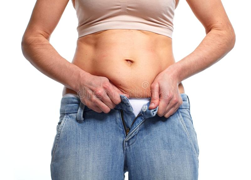 Woman with fat belly. stock image