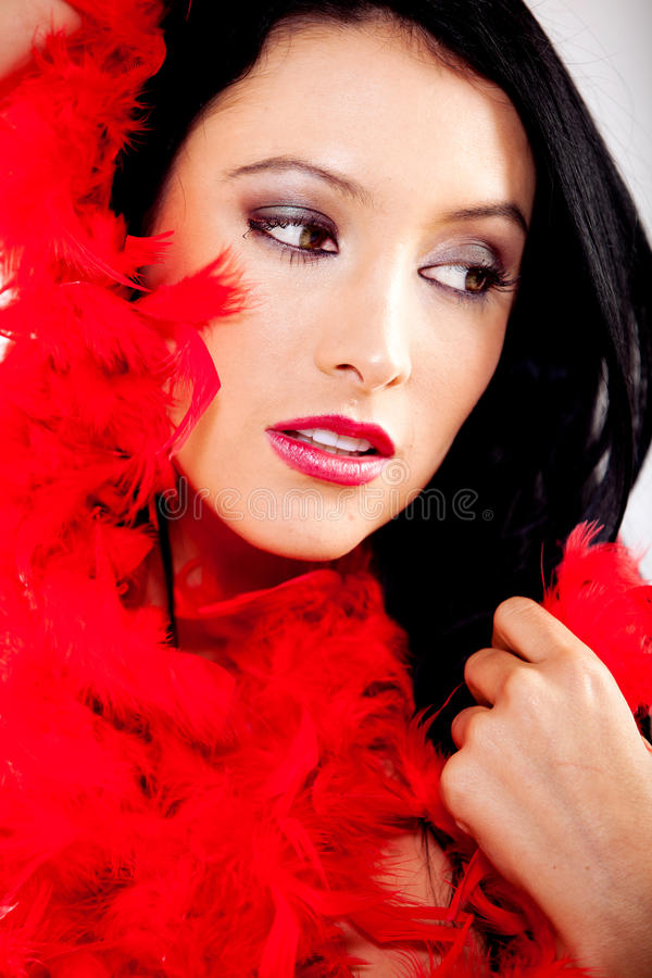 Download Woman with feather boa stock image. Image of adult, feminine - 23102969