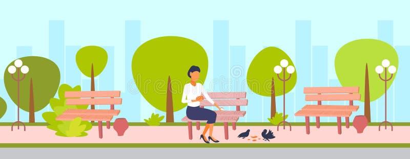 Woman feeding flock of pigeon brunette girl sitting wooden bench city urban park cityscape background female cartoon stock illustration