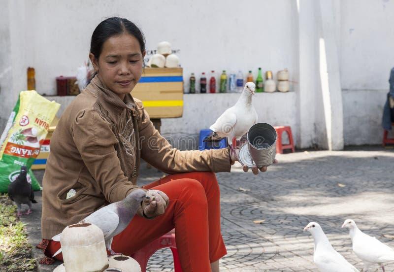 Woman feeding pigeons stock photography