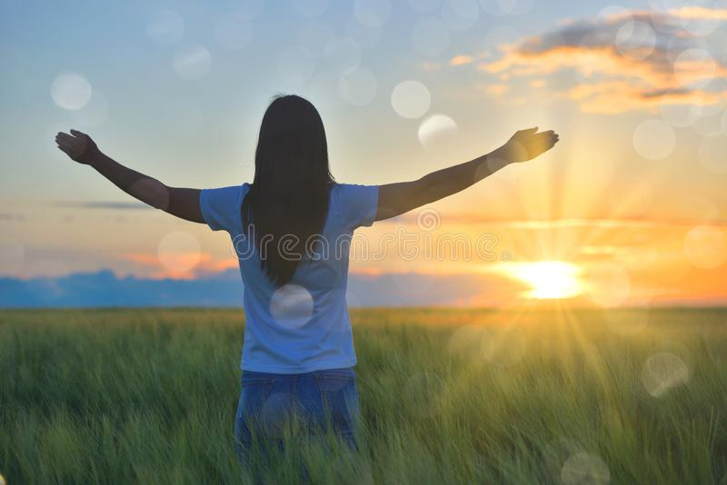 Woman feeling free in a beautiful natural setting, in what field at sunset royalty free stock image