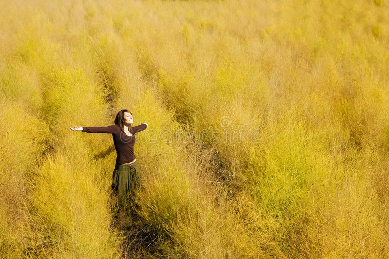 Woman feeling freedom in a field. royalty free stock images