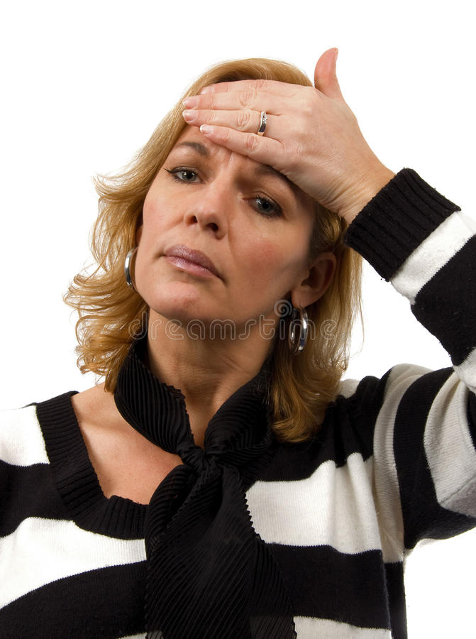 Woman is feeling sick over white background royalty free stock photos