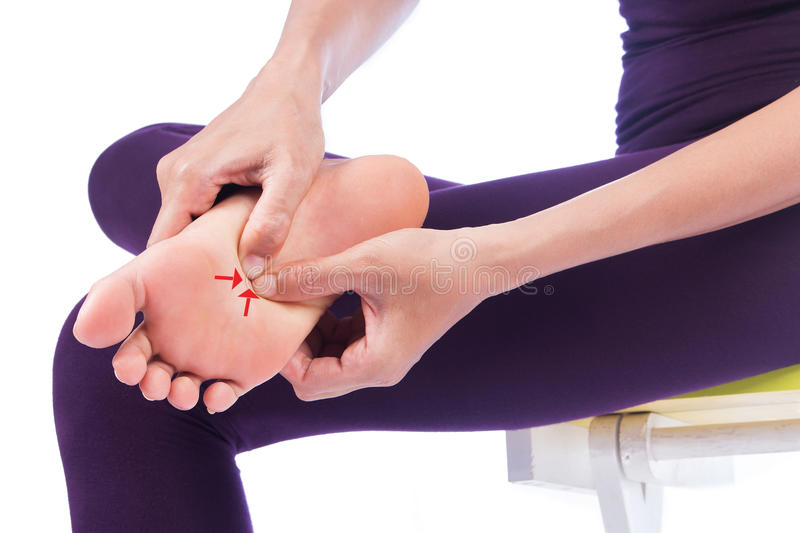 Woman with feet pain stock photo