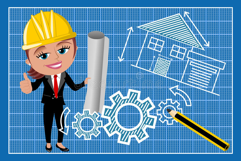 Woman Female Architect Thumb Up Blueprint royalty free illustration