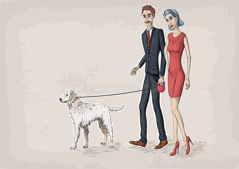 Woman female and business beautiful men caucasian young person. People couple walking with white labrador dog. Vector close-up horizontal illustration line vector illustration