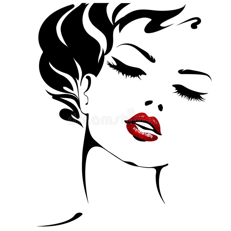 Free Woman. Female Face With Red Lips. Vector Portrait Isolated On White Background Stock Images - 162383224