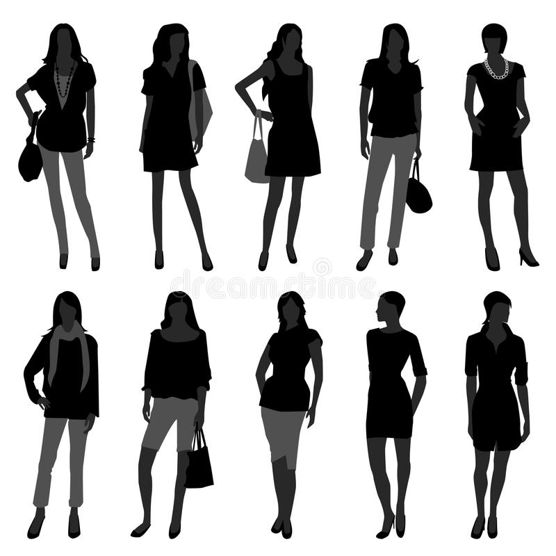 Woman Female Girl Fashion Shopping Model. A set of female silhouette in fashion style royalty free illustration