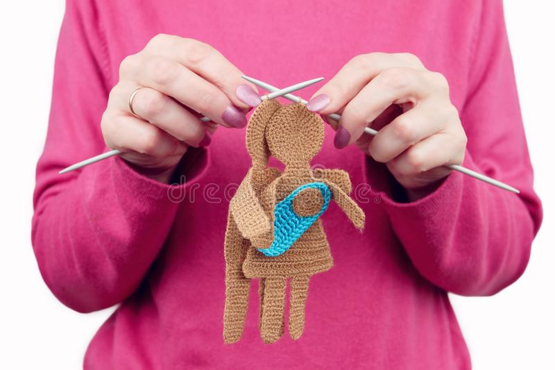 Woman female knits silhouette of woman and man in love stock images