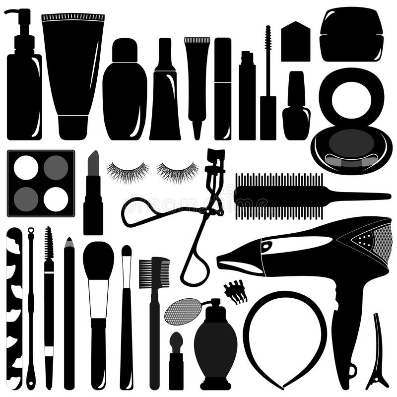 Woman Female Makeup Cosmetic Product Silhouette. A set of woman makeup and cosmetic accessories in silhouette royalty free illustration