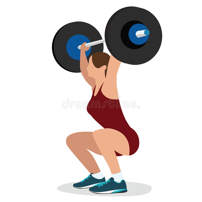 Download Woman Female Weight Lifting Training Lift Bar Strength Workout Vector Illustration Strong Body Stock Image - Image of power, crossfit: 67984597