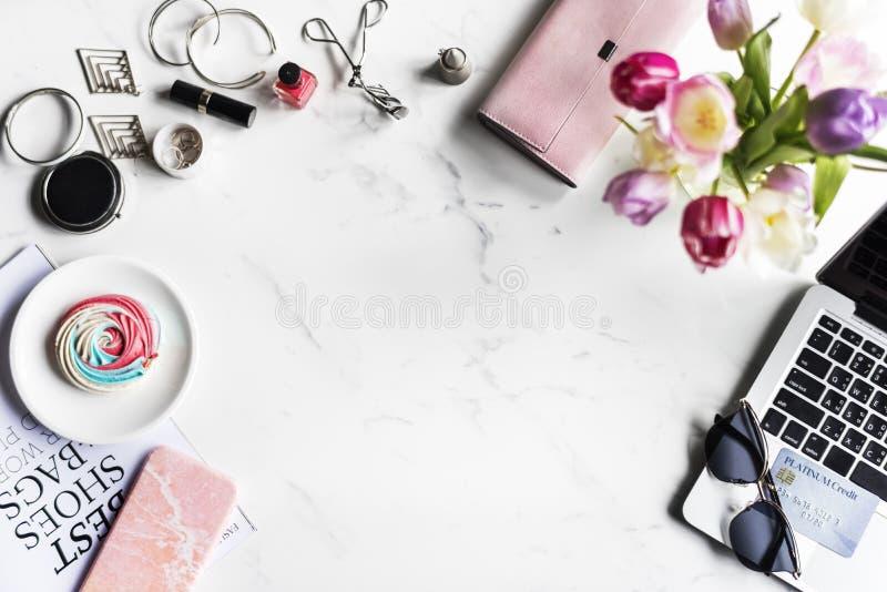 Woman Feminine Lifestyle Shopping Fashionista with Marble Background royalty free stock photography
