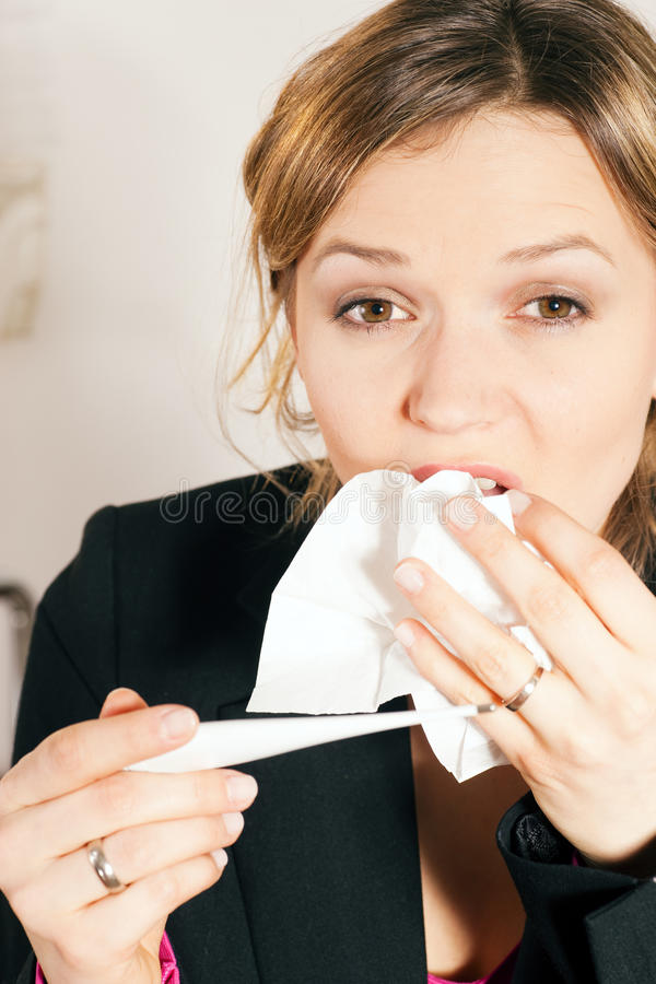 Download Woman With Fever And Cold Royalty Free Stock Photos - Image: 12356848