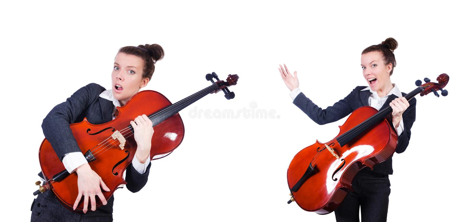 The woman fiddler isolated on white background. Woman fiddler isolated on white background stock photography