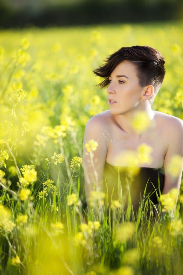 Download Woman on field stock photo. Image of closeup, green, greenery - 18279190