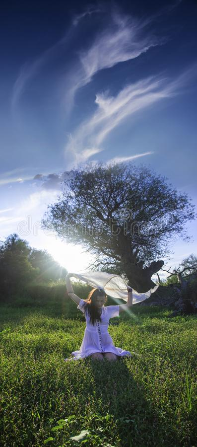Pagan Woman on the field dancing royalty free stock photography