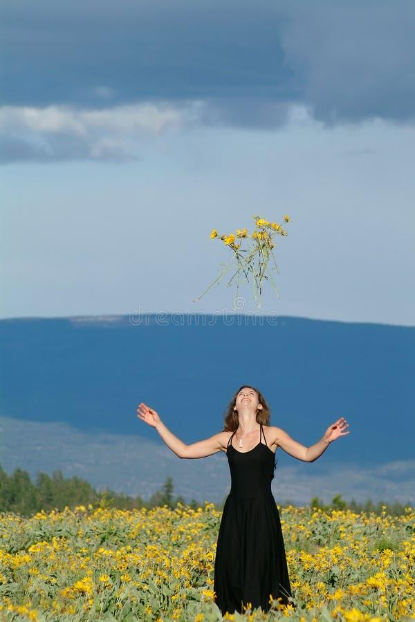 Woman in field of flowers. Woman wearing black dress standing in field of flowers royalty free stock photos
