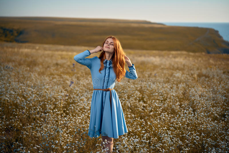 Woman in a field of flowers stock photography