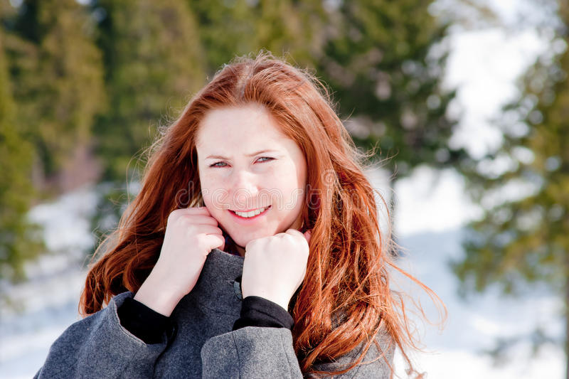 Woman In-field In Winter Stock Photo