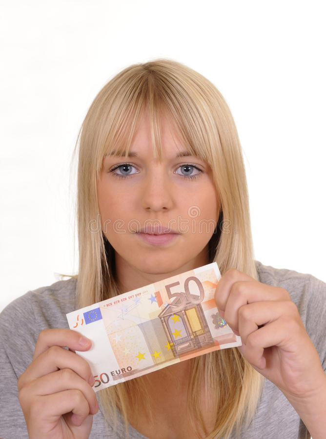 Download Woman with fifty Euro stock photo. Image of banknote - 16088790