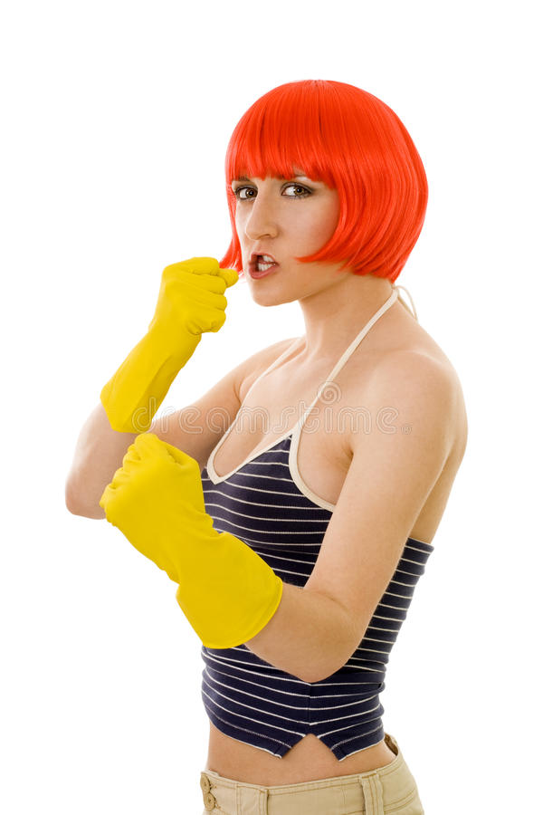Woman fighting royalty free stock image