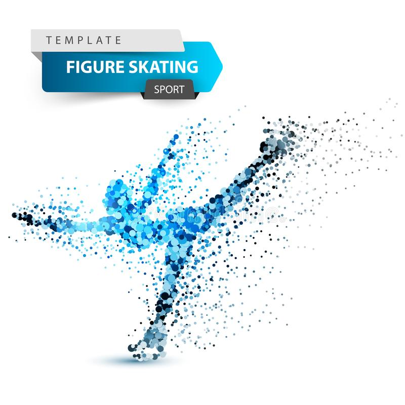 Woman figure skating on the white background. vector illustration