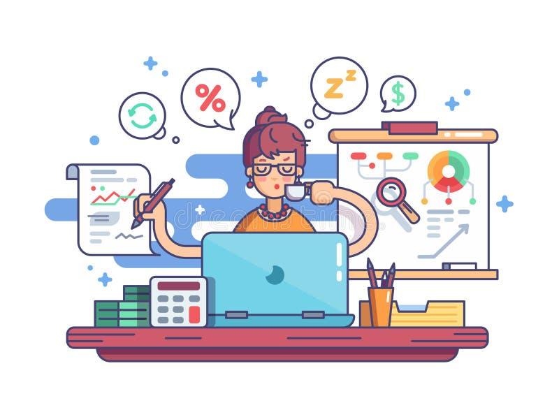 Woman financial accountant royalty free illustration