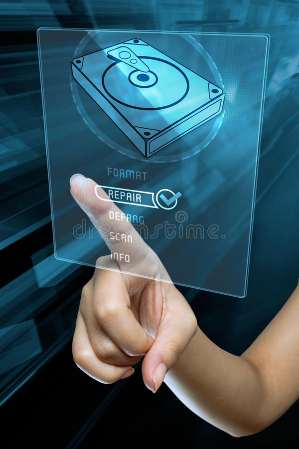 A woman finger choice the option to repair a hard disk stock images