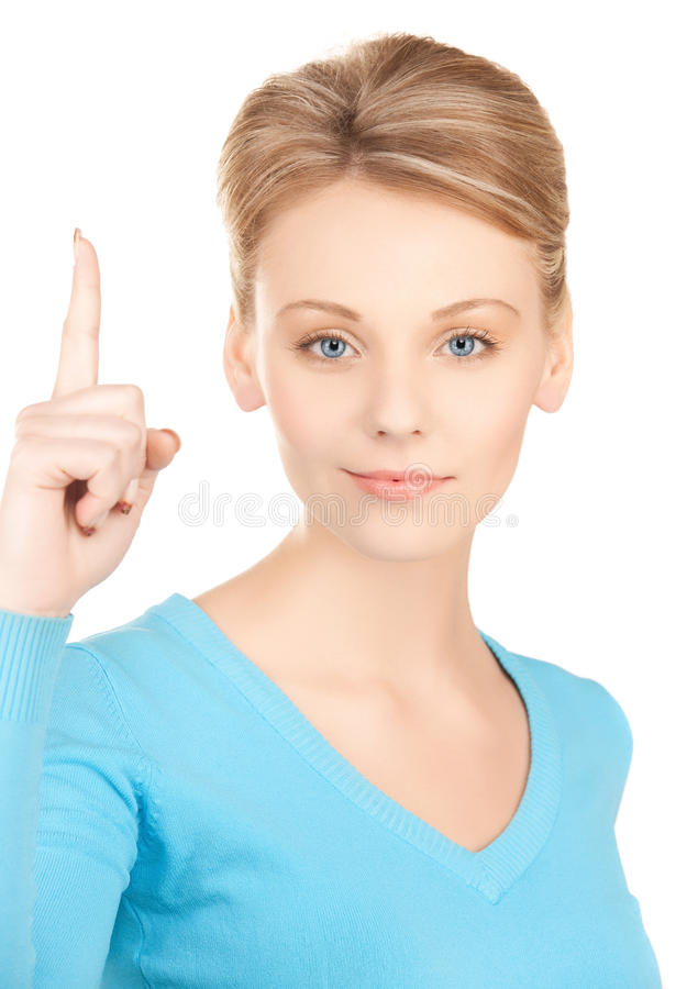 Woman with finger up. Picture of attractive young woman with finger up stock images