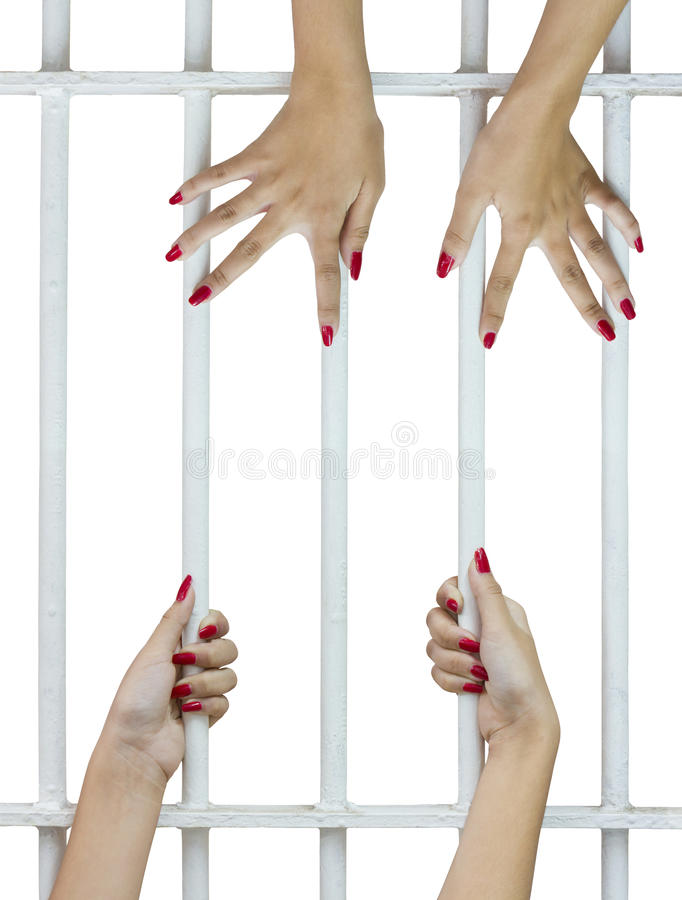 Woman fingers on the bars. Woman fingers with red nails holding grip on the bars of the cage stock photography