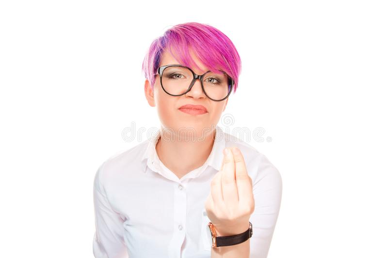 Woman fingers together hand gesture asking What are you saying? Are you crazy stock photo