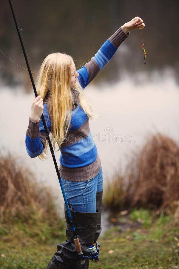 Download Woman Fishing stock image. Image of positive, holidays - 23599615