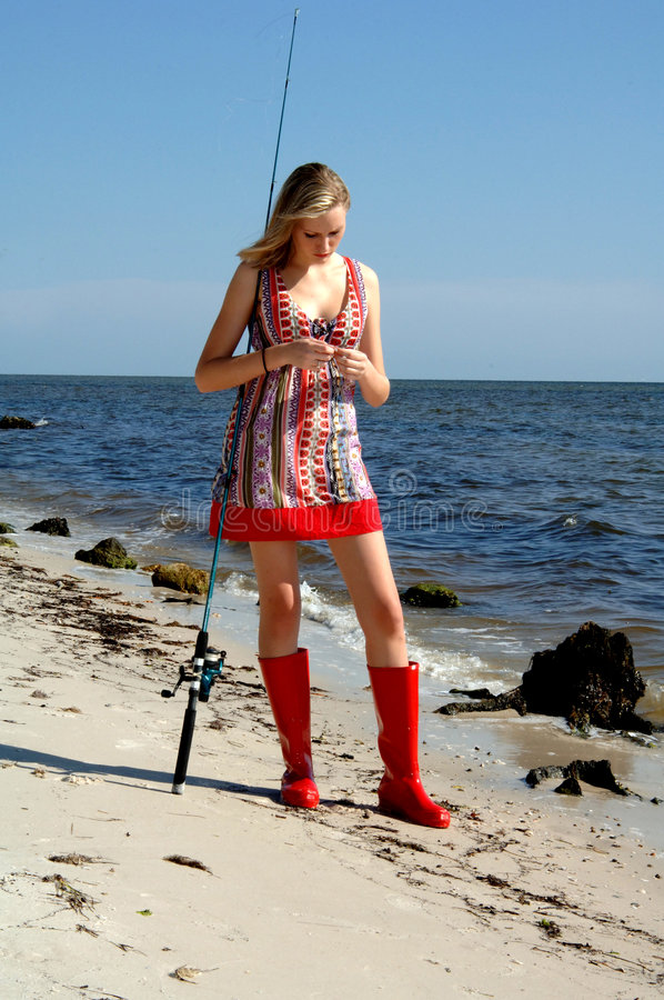 Woman fishing stock images