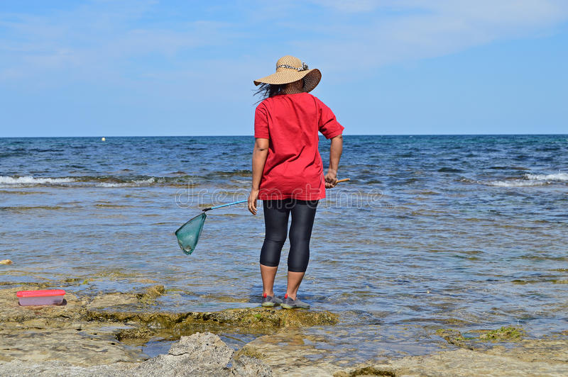 Woman Fishing With A Net stock image