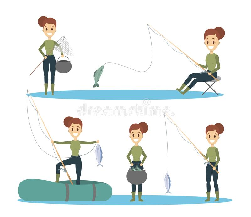 Woman fishing set. stock illustration