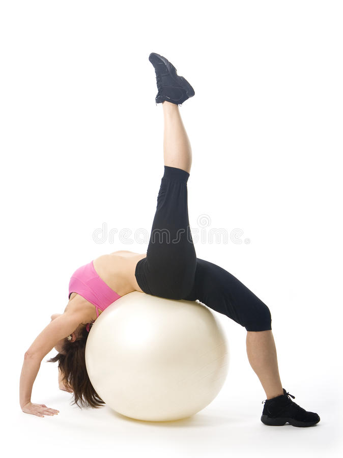 Download Woman with fitball stock photo. Image of ball, aerobics - 16632938