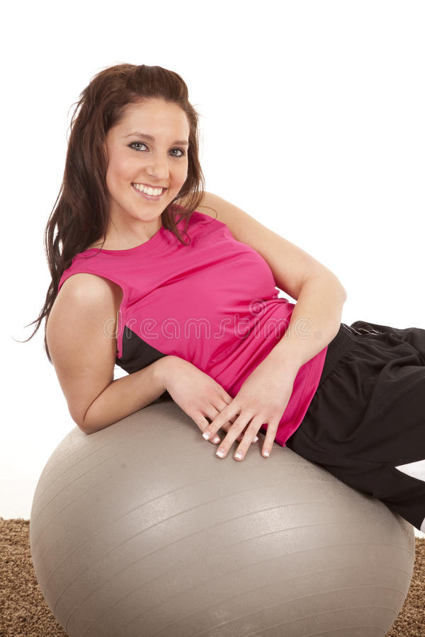 Download Woman Fitness Ball Side Looking Stock Photo - Image: 18469344