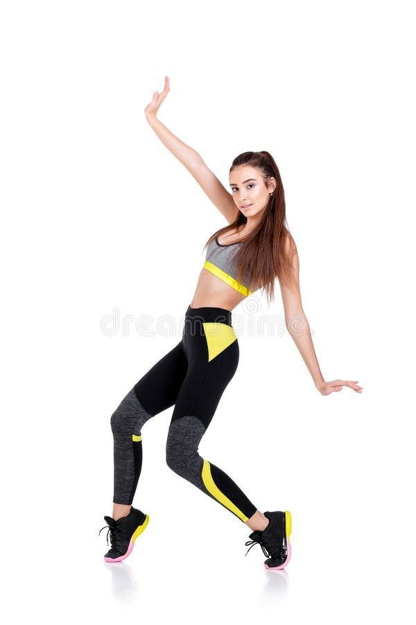 Woman in fitness clothes royalty free stock photography