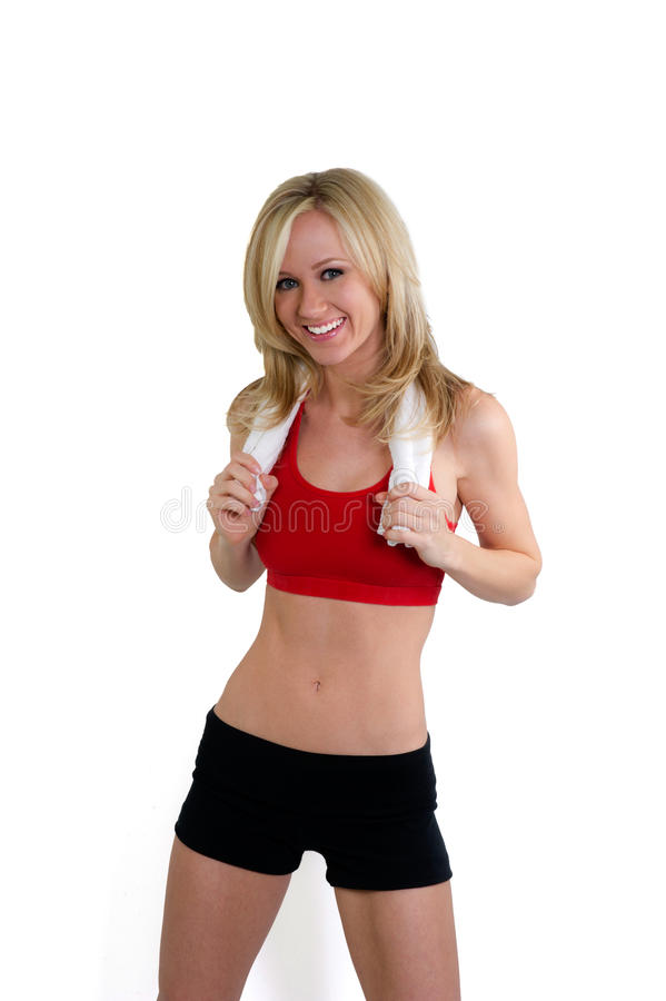 Woman in fitness clothing with an ideal waist stock photography