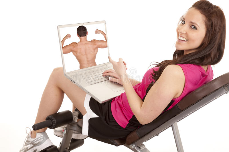 Download Woman fitness happy screen stock image. Image of exercise - 18444319