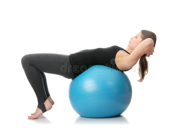 Woman during fitness time with ball royalty free stock images